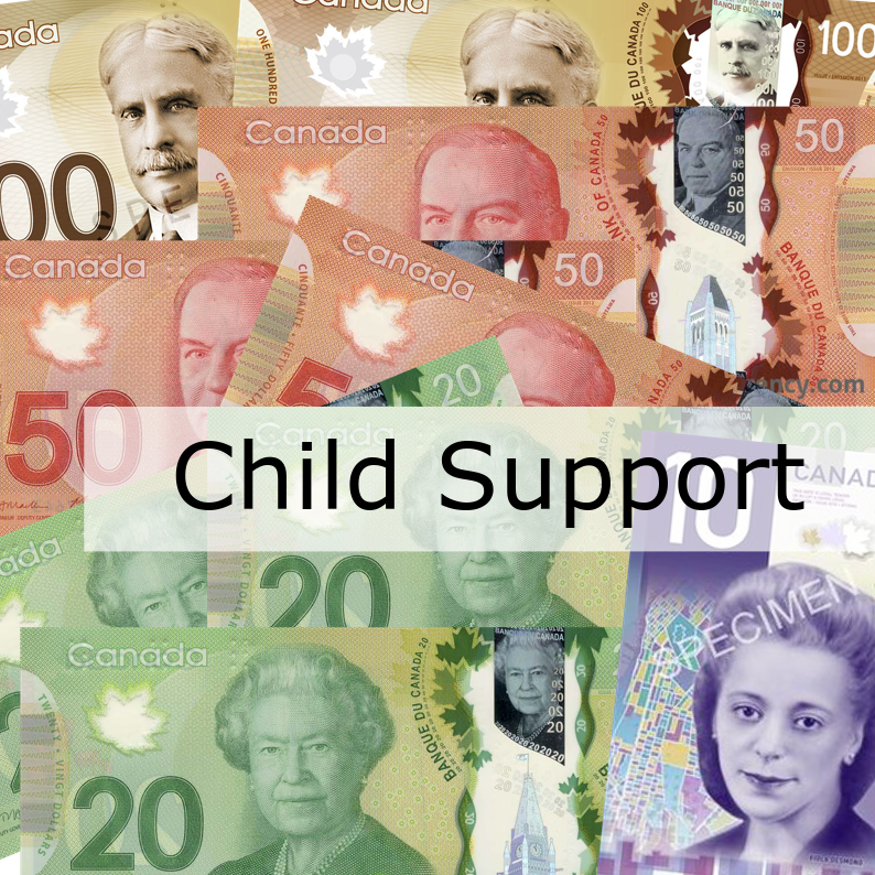 Child Support written over various Canadian currency