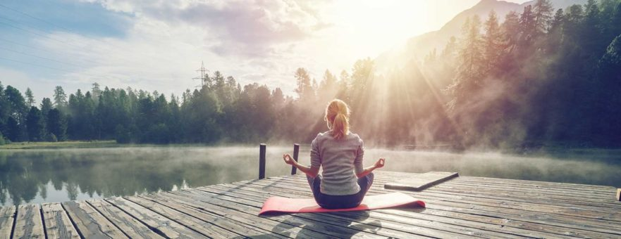 woman at peace which demonstrates stress relief
